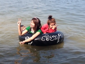 Chan Leap and Chi Chi tubing happily in the Western Baray